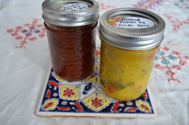 Homemade preserves from a family friend - tomato jam and mustard pickles. The sweet tang offsets the savory cornbread.